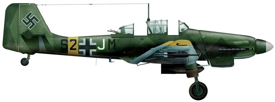 Бомбардировщик «Юнкерс» Ju 87D-3 из отряда 4./StG 77 — над подобной машиной из отряда 5./StG 77 Лидия Литвяк заявила победу 11 февраля 1943 года. Художник Игорь Злобин - Победы и поражения Лидии Литвяк | Warspot.ru