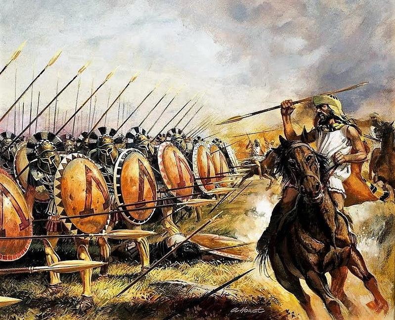 Спартанцы отражают атаку вражеской кавалерии. pinterest.com - Агесилай в Малой Азии | Warspot.ru