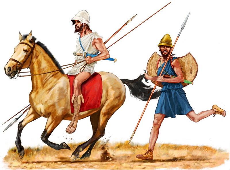 Греческий всадник и пельтаст. Именно так, согласно Ксенофонту, они могли атаковать персов в битве при Сардах. imtw.ru - Агесилай в Малой Азии | Warspot.ru