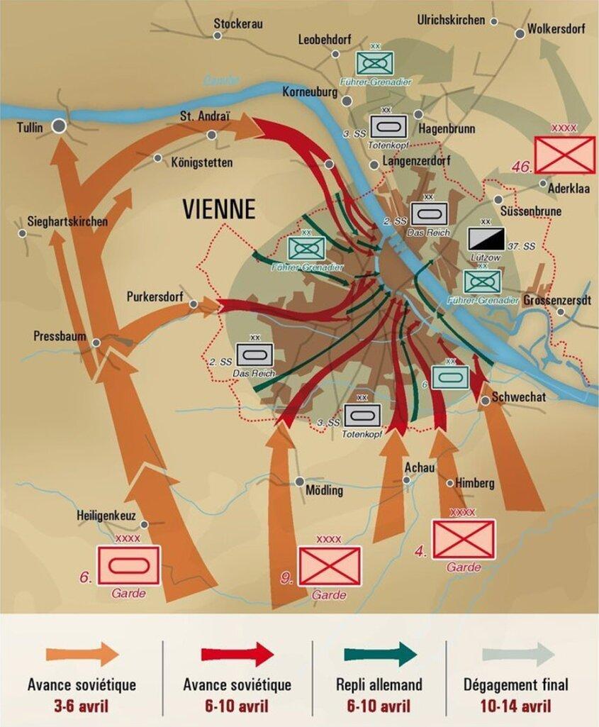 Схема обороны Вены Bernard V. Lebeau Danube rouge// Batailles & Blindés N°54. 2014 - Венская одиссея генерала Волкова | Warspot.ru