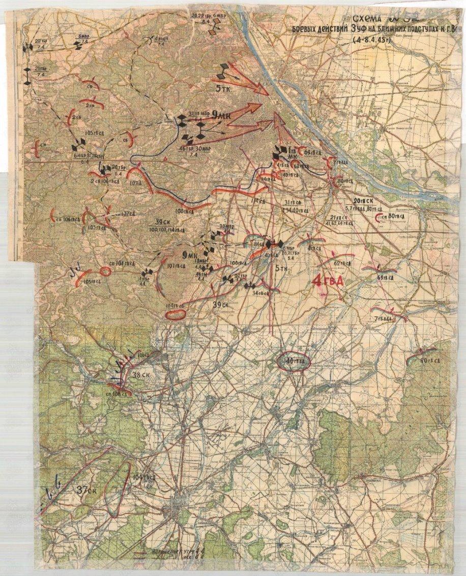 Схема боёв частей 3-го Украинского фронта 4-8 апреля 1945 года pamyat-naroda.ru - Венская одиссея генерала Волкова | Warspot.ru