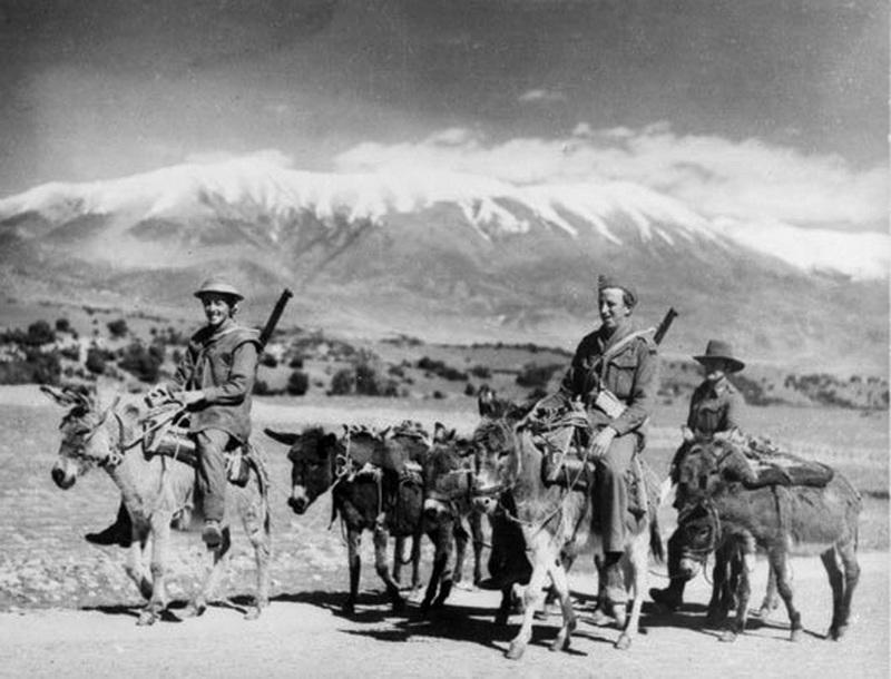 Австралийские солдаты и их основное средство передвижения в Греции - Бои на линии Метаксаса  | Warspot.ru