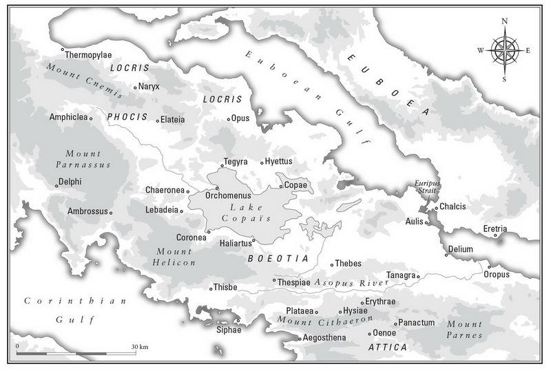 Карта Беотии. Источник: Ruсsh, Scott M. Sparta at War: Strategy, Tactics, and Campaigns, 550–362 BC / Scott М. Ruсsh. — Frontline Books, 2011 - Очевидное предзнаменование | Warspot.ru