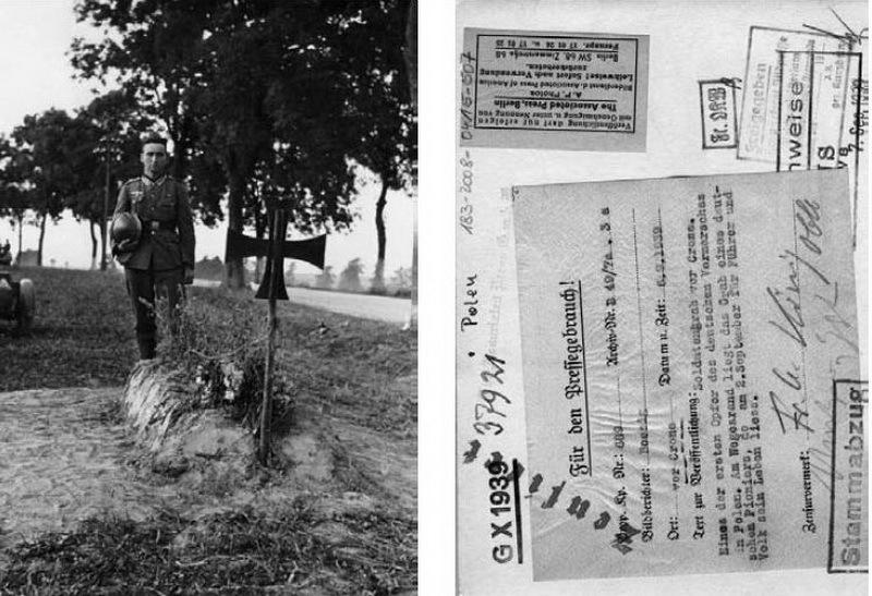 Сделанный РП снимок и сопроводительный ярлык на его обратной стороне. Описание гласит: «Солдатская могила у Кроне. Одна из первых жертв во время немецкого продвижения в Польшу. Солдатская могила на обочине принадлежит сапёру, 2 сентября отдавшему свою жизнь за фюрера и за свой народ». Фотограф Хайнц Бёзиг. Источник: BArch Bild 183-2008-0415-507/CC-BY-SA - Пиарщики вермахта | Warspot.ru