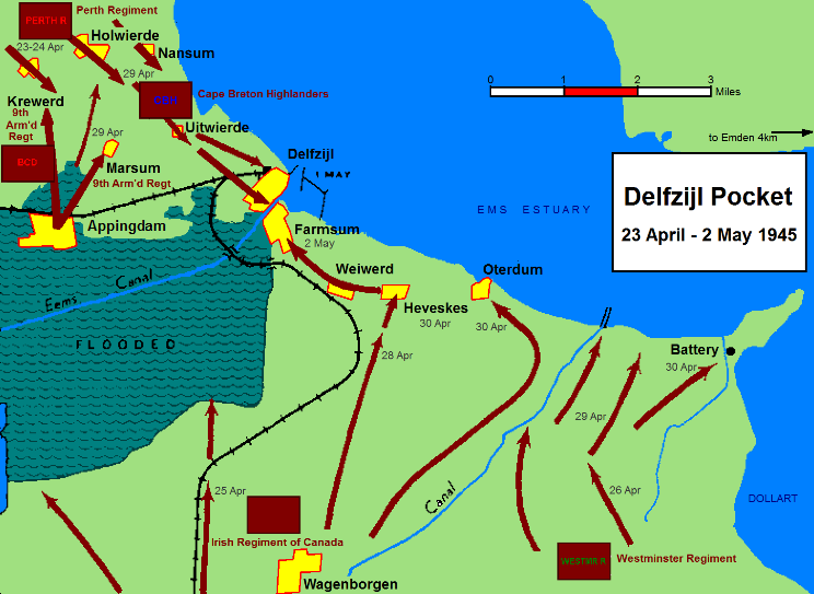 ​Схема боёв за Делфзейл 23 апреля-2 мая 1945 года Byers D. Operation «Canada»: 5th Canadian Armoured Division's Attack on Delfzijl, 23 April to 2 May 1945, Canadian Military History, 1998 - Последнее задание для генерала Хоффмейстера | Warspot.ru