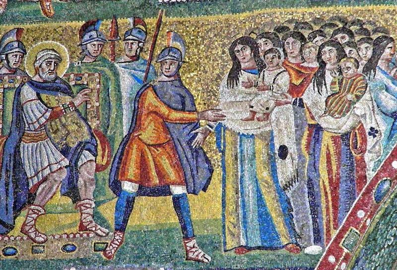 Ирод и вифлеемские младенцы. Мозаика V века. Базилика Санта Мария Маджоре в Риме. pinterest.com