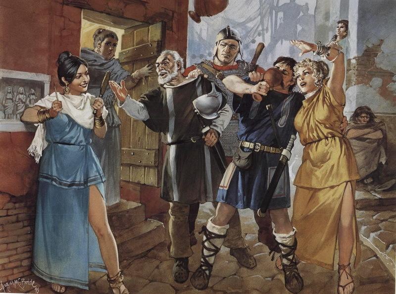 Римские солдаты дебоширят в квартале с увеселительными заведениями. Реконструкция Ангуса МакБрайта. pinterest.com