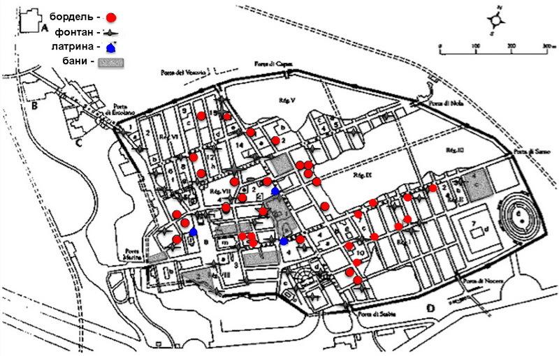 Карта расположения помпейских борделей. cambridge.org