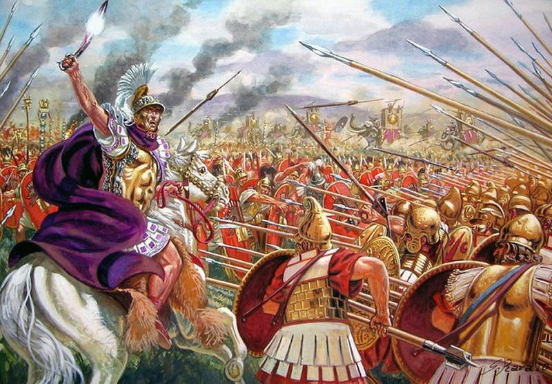 Сражение при Гераклее между македонской фалангой и римскими легионами. Реконструкция Дж. Рава. pinterest.ie