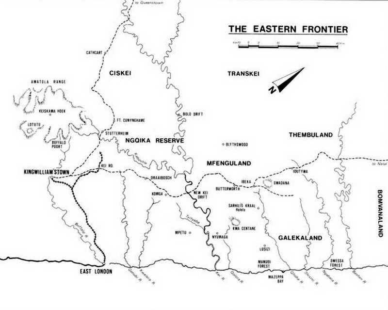 Карта восточного фронтира Капской колонии в 1870-е годы