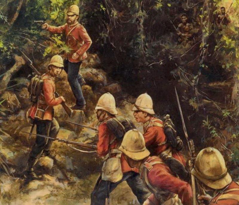 Британские солдаты в буше Аматольских гор. Источник: Ian Castle. British Infantryman in South Africa 1877–1881. — Osprey Publishing, 2003