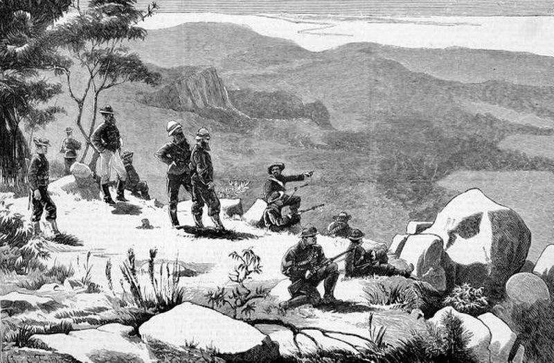 Британские солдаты на утёсе Аматольских гор. Источник: Keith Smith. The Wedding Feast War: The Final Tragedy of the Xhosa People. — Frontline Books, 2012