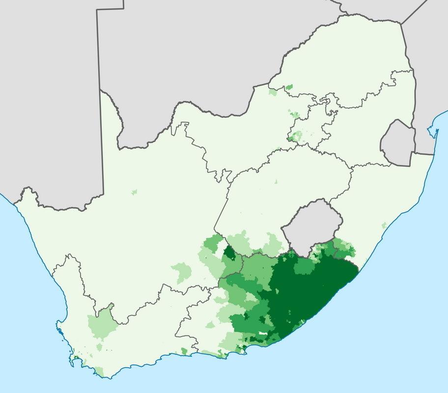 Расселение коса в современной ЮАР. wikimedia.org