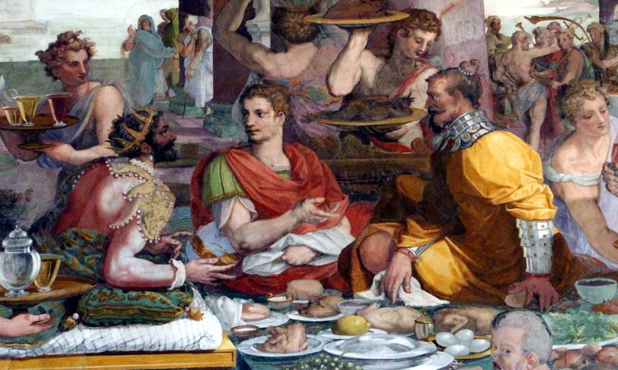 Царь Сифакс принимает у себя Сципиона и Гасдрубала. Художник Алессандро Аллори, около 1600 года - Обречённый на гибель   Warspot.ru