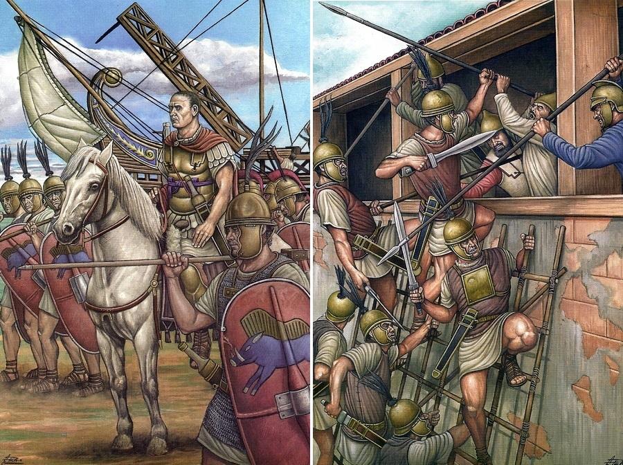 Слева: Сципион подходит к Новому Карфагену. Справа: римляне штурмуют стену города. Рисунки художника Анхеля Гарсия Пинто - Обречённый на гибель   Warspot.ru