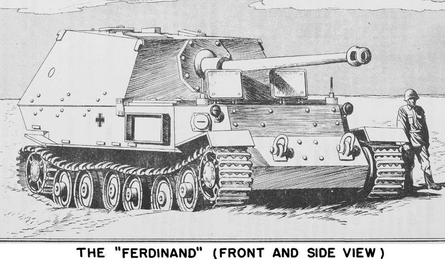 «Фердинанд», вид в ракурсе 3/4. Рисунок сделан с фотографии, снятой в ходе Курской битвы - Слоны Фердинанда Порше в неволе | Warspot.ru