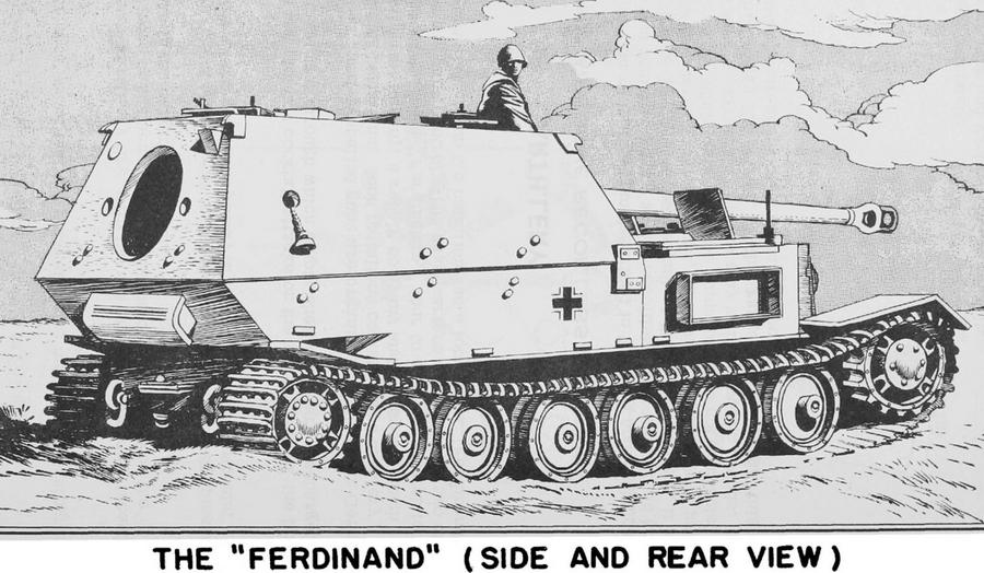 «Фердинанд», вид с кормы. Этот рисунок тоже сделан с фотографии, поэтому крышка кормового люка отсутствует - Слоны Фердинанда Порше в неволе | Warspot.ru