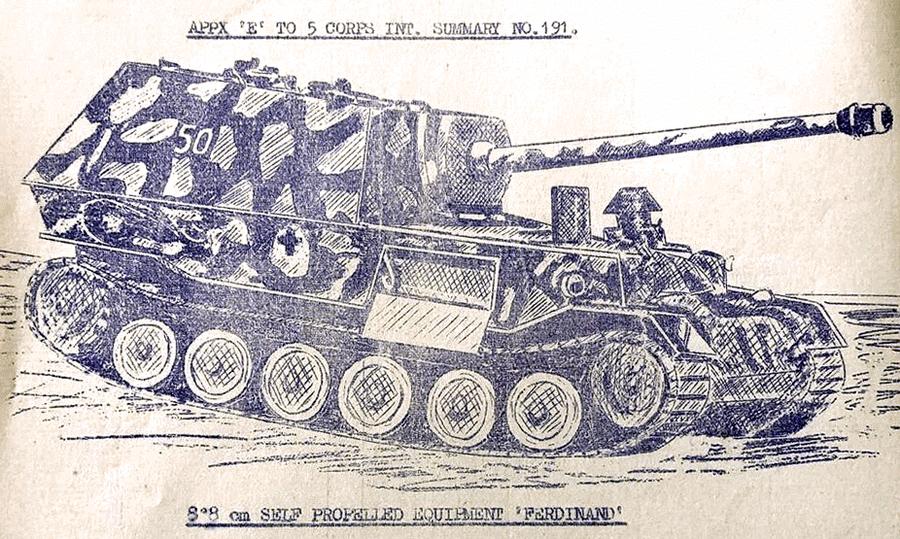 Направленному в Италию британскому 5-му корпусу тоже дали рисунок, сделанный со знаменитой фотографии в сводке об известных машинах противника - Слоны Фердинанда Порше в неволе | Warspot.ru