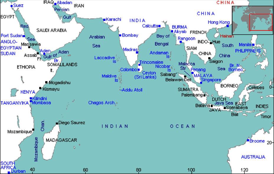 Общая схема баз и портов Индийского океана в 1942 году naval-history.net - Последний успех японского флота   Warspot.ru