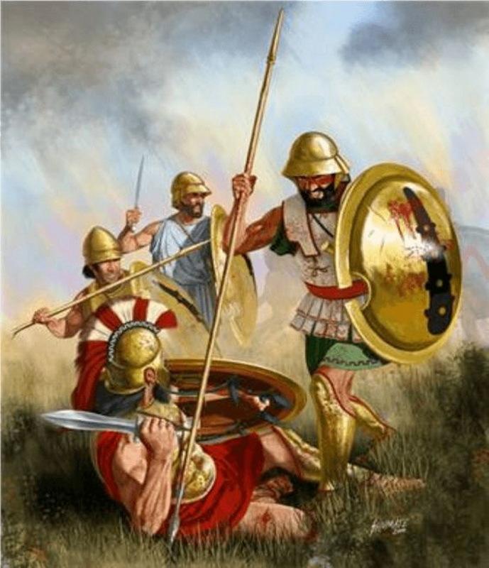 Битва при Тегирах, 375 год до н.э. Гоплит Священного отряда добивает спартиата. co.pinterest.com - Священный отряд из Фив | Warspot.ru