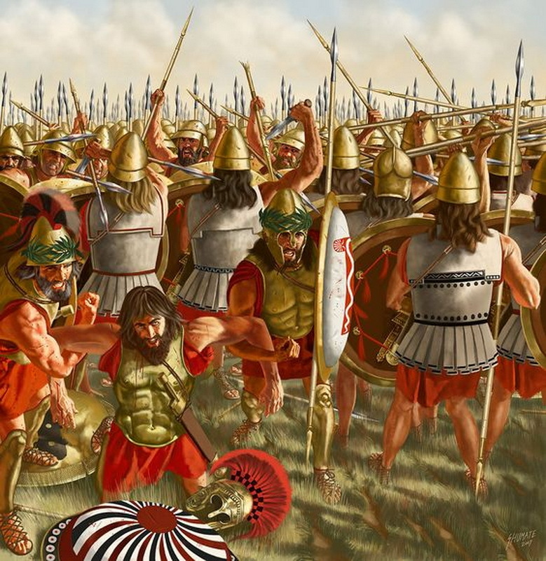 Битва при Левктрах, 371 год до н.э. Священный отряд прорывает ряды спартанской фаланги. На переднем плане спартанцы пытаются унести умирающего царя Клеомброта. pinterest.com - Священный отряд из Фив | Warspot.ru