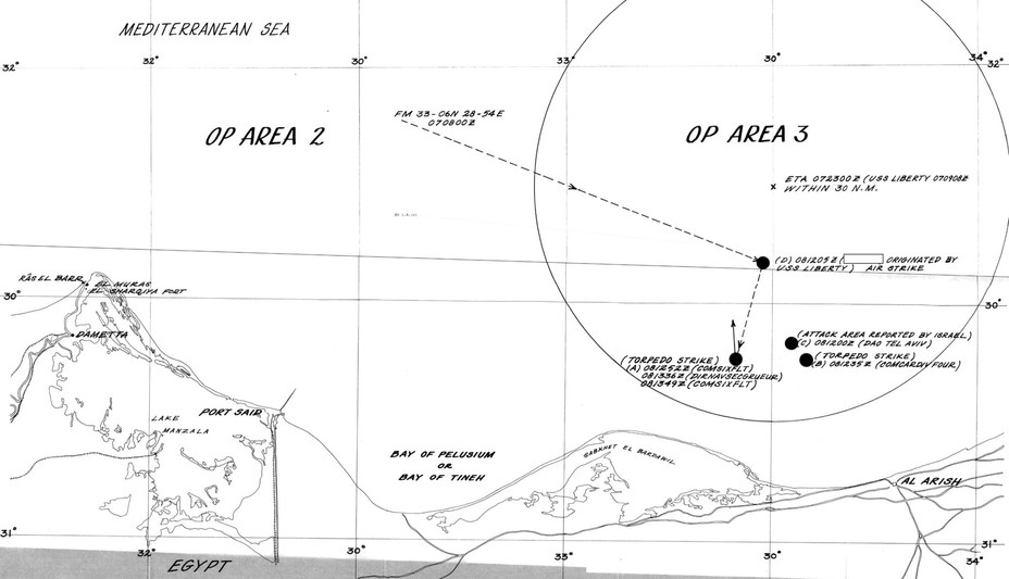 Схема атаки на «Либерти» по американским и израильским данным. Карта из американского служебного отчёта. Видно, что истинное положение судна сильно отличалось от координат, отмеченных израильскими самолётами и катерами. Время по Тель-Авиву меньше местного географического на 2 часа - Тайна «Либерти» | Warspot.ru