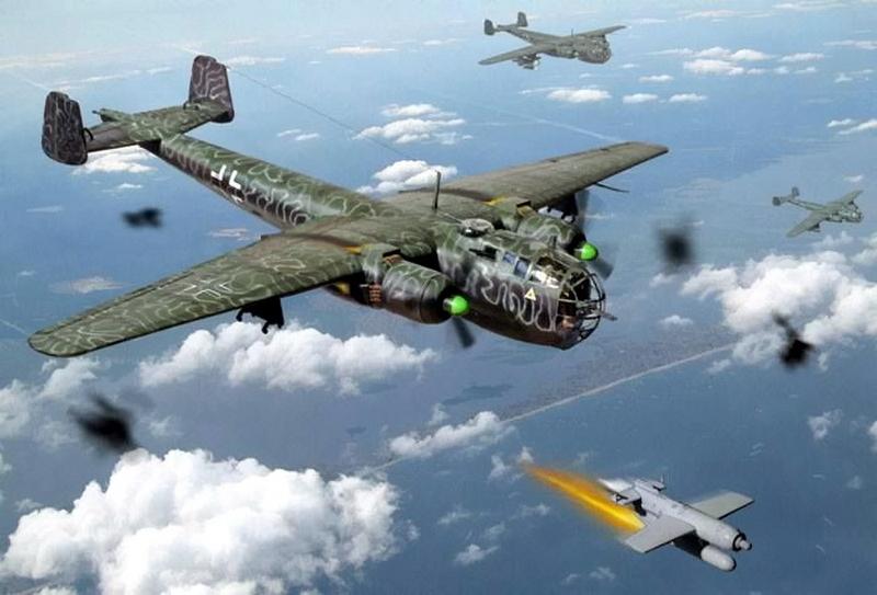 «Дорнье» Do 217 сбрасывает крылатую бомбу Hs 293 - Сломанная ось, или Охота на вчерашнего союзника   Warspot.ru