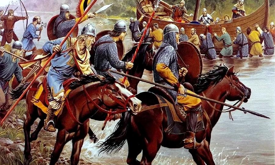Кавалерия франков ведёт бой на переправе (реконструкция) - Главная битва христианской Европы   Warspot.ru