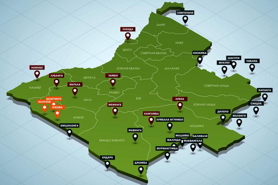Красным на схеме показаны основные узлы обороны ангольских и кубинских войск летом 1983 года. Тёмно-синим выделены базы УНИТА на территории Анголы и у ее границ, оранжевым — гарнизоны войск ЮАР в провинции Кунене