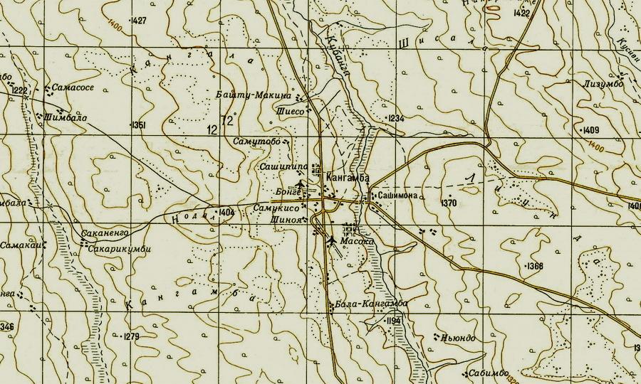 Фрагмент топографической карты Анголы, масштаб 1:200 000, 1979 год