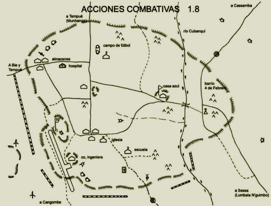 Схема оборонительных позиций Кангамбы по состоянию на 1 августа 1983 года