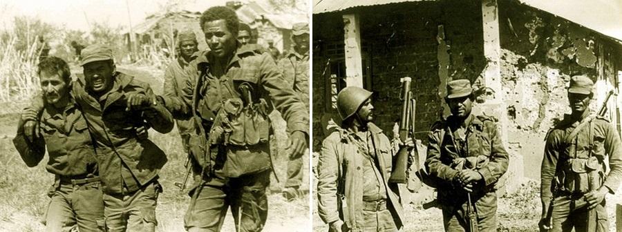 Кангамба, 10 августа 1983 года: слева — эвакуация раненых, справа — командование кубинских интернационалистов с оружием, захваченным у УНИТА (перед зданием штаба слева направо: капитан Фернандо Фуэнтес Риверо, подполковник Фиденсио Гонсалес Пераса и майор Диогенес Белл Сессе)