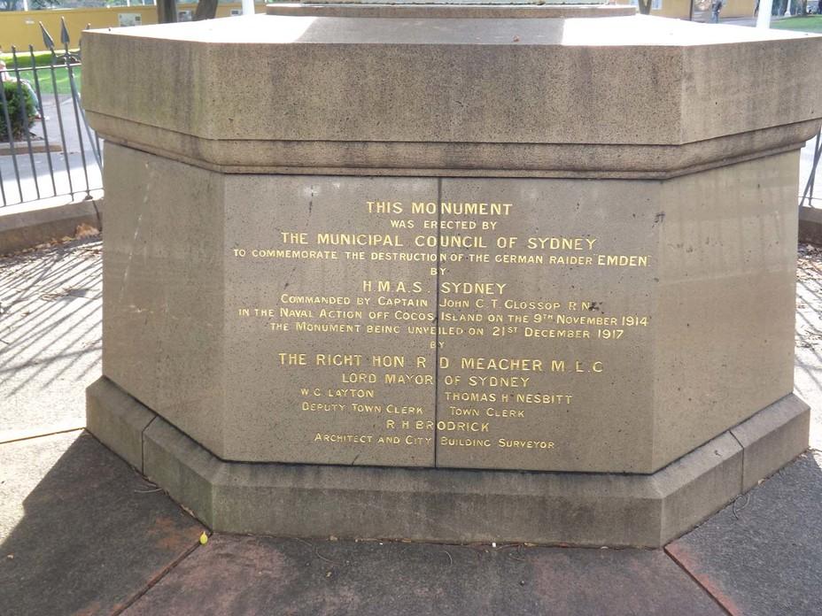 «Этот памятник воздвигнут муниципальным советом Сиднея в память об уничтожении германского рейдера Emden Австралийским кораблём Его Величества Sydney». Фото автора - Победитель «корсаров Кайзера»   Warspot.ru