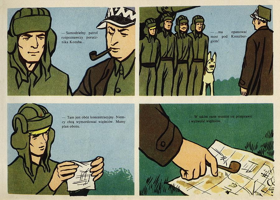 Страница комикса. Инициативный экипаж «Рыжего» намеревается освободить заключенных из немецкого концлагеря - Весёлые картинки Warspot: четыре танкиста и собака на бумаге   Warspot.ru