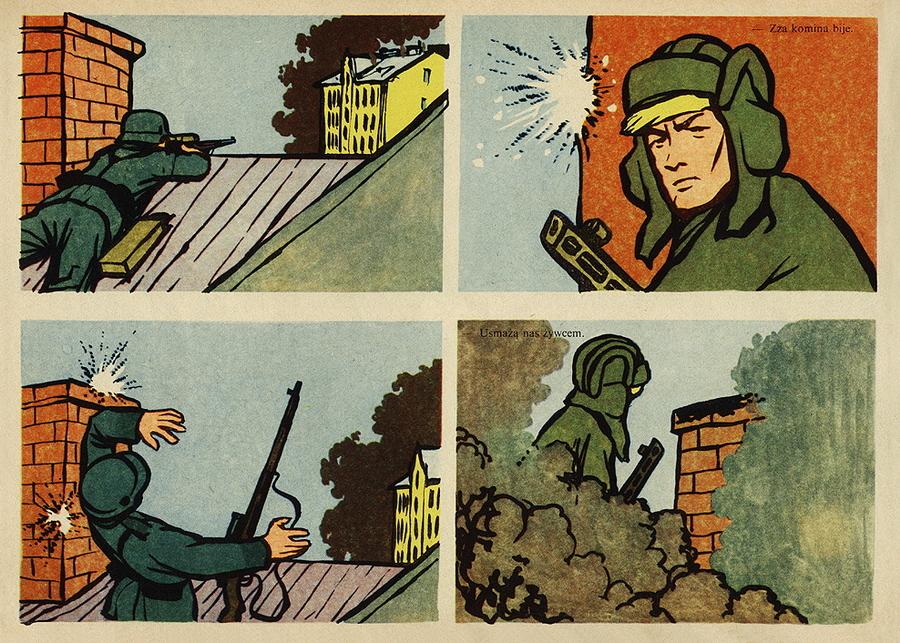 Страница комикса. Поединок с немецким снайпером - Весёлые картинки Warspot: четыре танкиста и собака на бумаге   Warspot.ru