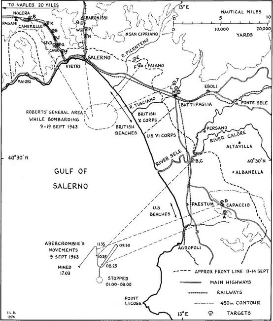 Карта бомбардировки Салерно - Тяжёлая троица у берегов Сицилии и Калабрии | Warspot.ru