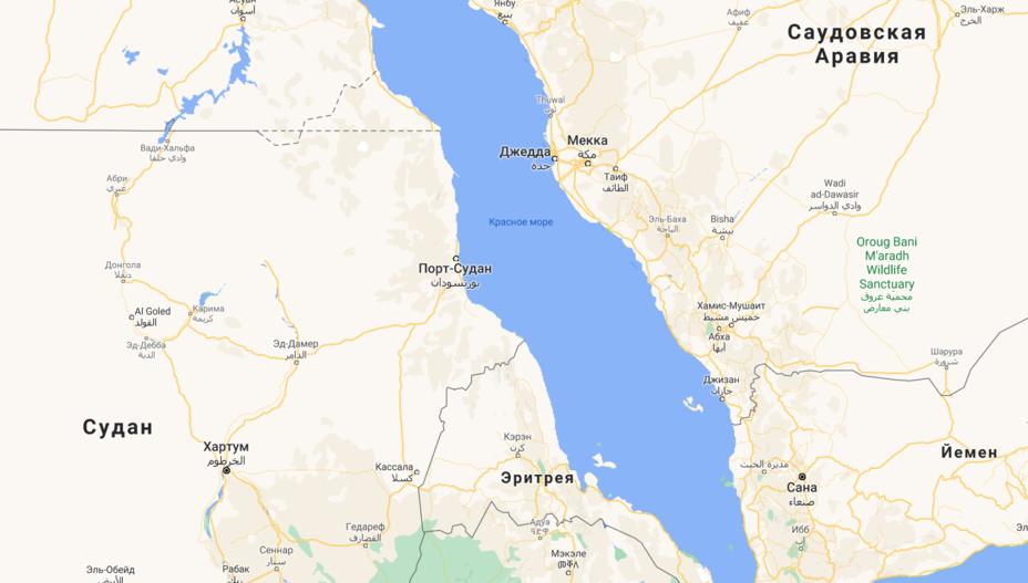 Российская база разместится в Порт-Судане google.com/maps - Российский флот будет «гостить» в Судане | Warspot.ru