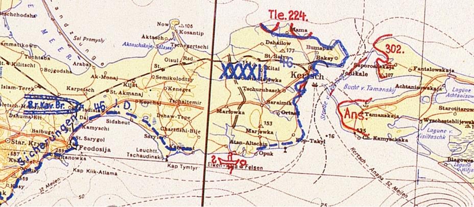 Положение на Керченском полуострове 27 декабря 1941 года. Фрагмент отчётной карты (Lage Ost) Генерального штаба сухопутных сил вермахта (GenStdH) - Керченско-Феодосийская операция на Азовском побережье: встречный бой у Аджимушкая | Warspot.ru