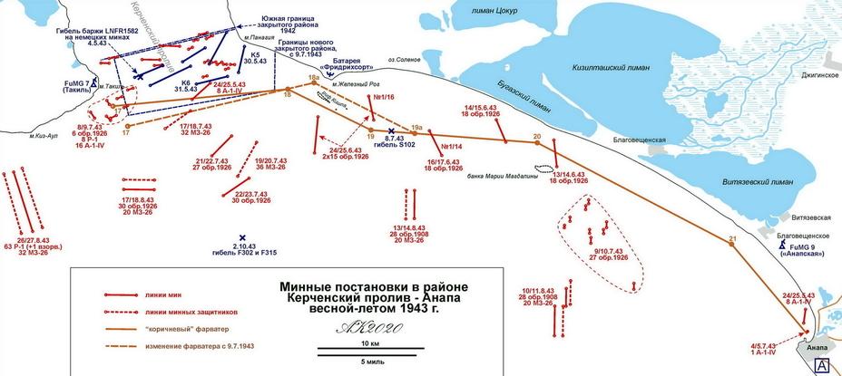 Минные постановки на линии Керченский пролив – Анапа весной и летом 1943 года - «Действия авиации на коммуникациях противника… были неэффективны» | Warspot.ru