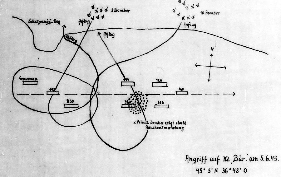Бой 5 июня 1943 года. На схеме хорошо видно, что командир «Хагена 5» допустил грубую ошибку в оценке обстановки. Вдобавок к серьезным просчетам Слеков сделал орфографическую ошибку – написал «Gravenau» вместо «Grafenau» - «Действия авиации на коммуникациях противника… были неэффективны» | Warspot.ru