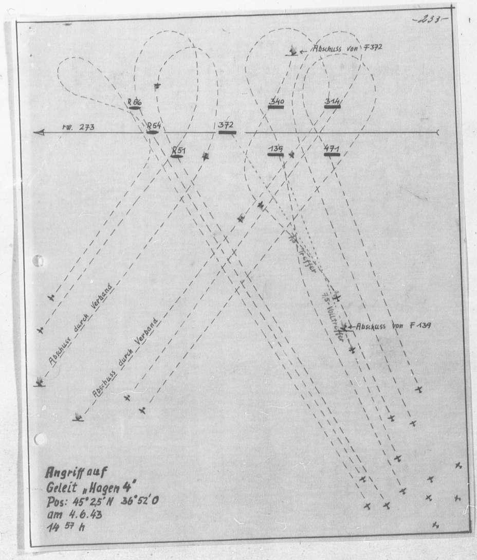 Бой 4 июня 1943 года. Конвой «Хаген 4» шел за катерами-тральщиками типа RA, но на схеме они обозначены некорректно одной буквой R (так обозначались полноценные раумботы) - «Действия авиации на коммуникациях противника… были неэффективны» | Warspot.ru
