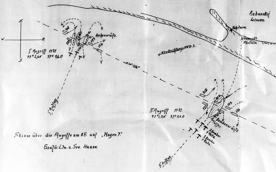 Первый налёт на «Хаген 7» 8 июня 1943 года. Схема наглядно показывает, что «Пешки» отбомбились хорошо, но баржи успели уклониться - «Действия авиации на коммуникациях противника… были неэффективны» | Warspot.ru