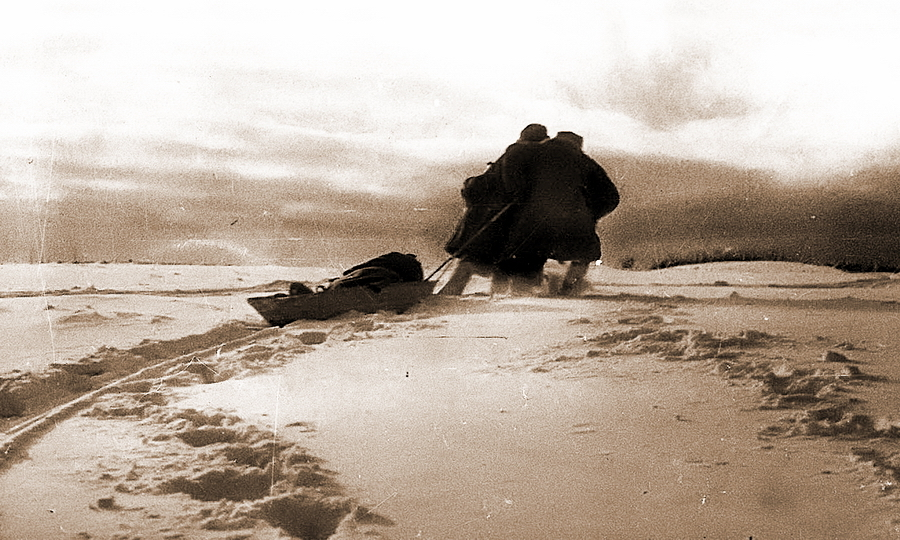 Эвакуация советского раненого с передовой, зима 1943 года - Наступление в «медвежьем углу» | Warspot.ru