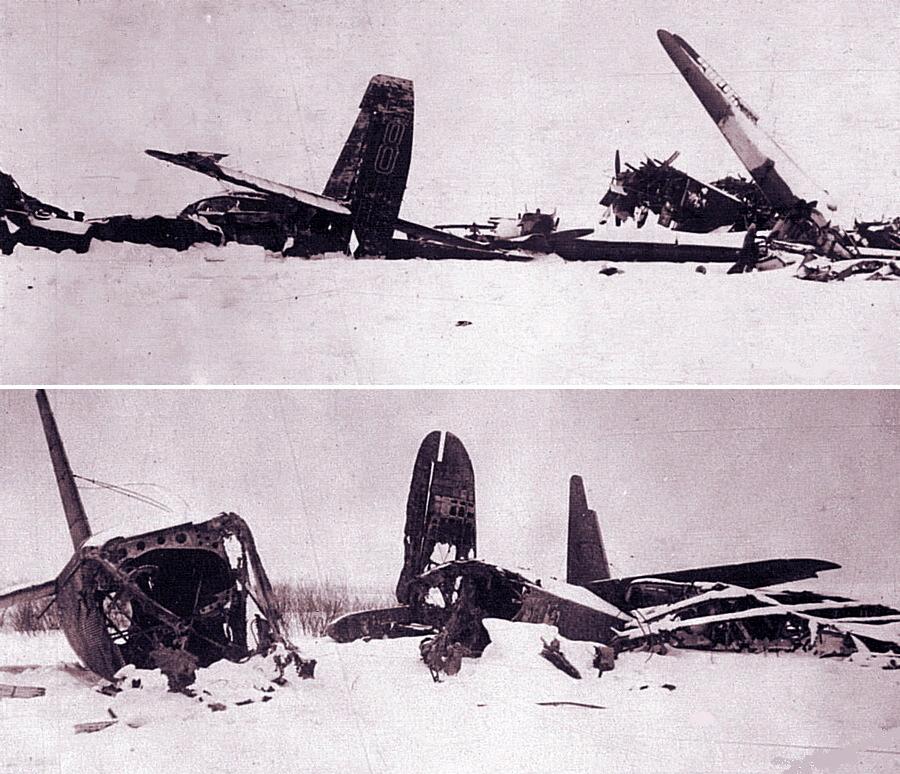 Уничтоженные на аэродроме Грабцево советские транспортные самолёты ТБ-3 и ПС-84 - Поломанные крылья вяземского десанта | Warspot.ru
