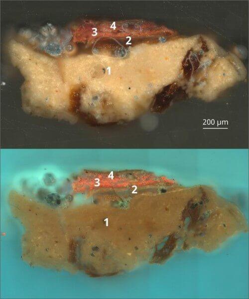 Поперечное сечение щитовой доски, изученное при помощи рентгенографии и спектроскопии: 1 — левкас, состоящий из измельчённого карбоната кальция, вероятно, мела, с включением лубяных волокон; 2 — растительное волокно, возможно, лён; 3 — слой, содержащий органический красный краситель, осаждённый на гипсовой подложке; 4 — красный подготовительный слой, состоящий из киновари, небольших количеств свинцовых белил и розовой марены на гипсовой подложке. pinterest.es - Лики богов и эмблемы легионов | Warspot.ru