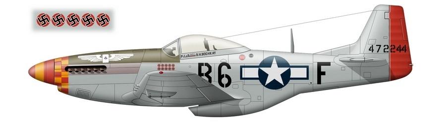 «Мустанг» P-51D-20 с серийным номером 44-72244 и бортовым кодом «B6-F» — персональный самолёт командира 363-й FS 357-й FG майора Дональда Боккея (Donald H. Bochkay), на котором он 18 апреля 1945 года одержал свою последнюю победу, доведя счёт до 13 и 5/6. Ему тогда засчитали уже второй в его карьере сбитый Me 262, но, в отличие от первого, немецкие данные не подтверждают уничтожение самолёта. Стандартно для поздних «Мустангов», истребитель аса остался неокрашенным, за исключением антибликовой полосы и тактических обозначений - Цвета военного неба: убийцы свистящих монстров | Warspot.ru