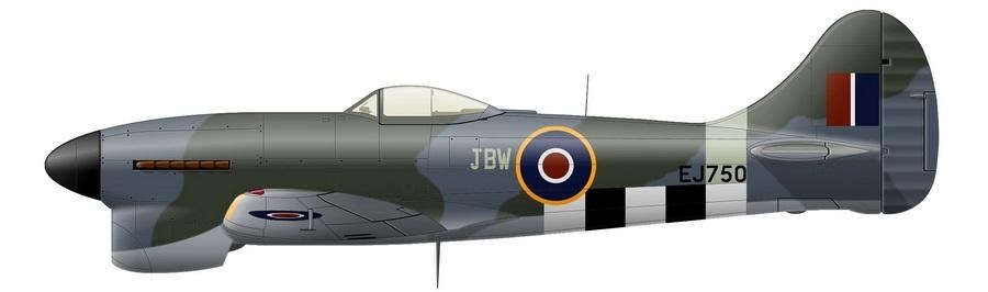«Темпест» Mk.V с серийным номером EJ750 и бортовым кодом «JBW», зимой 1944–1945 гг. бывший персональным самолётом винг-лидера 122-го крыла RAF винг-коммандера Джона Рея. На нём он провёл три результативных боя с реактивными самолётами: 3 ноября 1944 года повредил неидентифицированный Me 262A-2, 17 декабря сбил Me 262A-2 из 6./KG 51, а 25 декабря поучаствовал в повреждении (фактическом «смертельном ранении») Ar 234B-2 из 9./KG 76. Машина несёт стандартный камуфляж RAF из зелёного Dark Green и серого с синеватым отливом Ocean Grey на верхних и боковых поверхностях при светло-серых Medium Sea Grey нижних. В соответствии с обычной практикой 2-х Тактических ВВС, кок выкрашен в «маскировочный» чёрный цвет, но традиционная для истребителей полоса цвета Sky на фюзеляже осталась на месте - Цвета военного неба: убийцы свистящих монстров | Warspot.ru