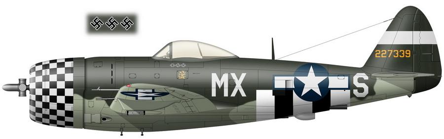 «Тандерболт» P-47D-27 с серийным номером 42-27339 и бортовым кодом «MX-S», персональный самолёт командира 82-й FS 78-й FG майора Джозефа Майерса, на котором он 28 августа 1944 года стал «соучастником» первой в истории воздушной победы над пилотируемым аппаратом с турбореактивным двигателем. Весной 1944-го в соответствии с общей практикой 8-х ВВС 78-я группа начала получать неокрашенные истребители, но во второй половине лета в ожидании возможного перебазирования на континент их закамуфлировали теми красками, которые сумели добыть, в данном случае английскими зелёной Dark Green и светлой зеленовато-серой Sky - Цвета военного неба: убийцы свистящих монстров | Warspot.ru