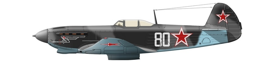 Реконструкция внешнего вида Як-9Т б/н 80 из состава 812-го иап, на котором лейтенант Лев Иванович Сивко участвовал в воздушном бою 22 марта 1945. Самолёт несёт стандартный «поздне-истребительный» камуфляж из тёмно-серой АМТ-12 и серо-голубой АМТ-11 на верхних и боковых поверхностях при голубой АМТ-7 на нижних - Цвета военного неба: убийцы свистящих монстров | Warspot.ru