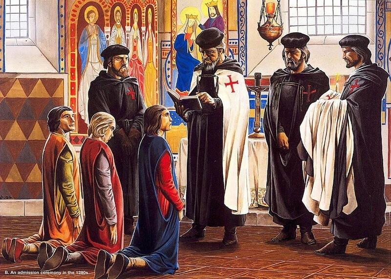 Церемония вступления в орден. Источник: Osprey — Warrior 091 — Knight Templar 1120-1312 - Орден тамплиеров и крестовые походы | Warspot.ru